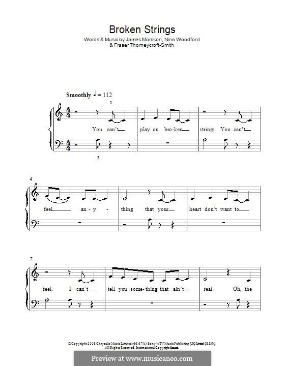 Broken Strings (James Morrison feat. Nelly Furtado): Facil para o piano by Fraser T. Smith, James Morrison, Nina Woodford
