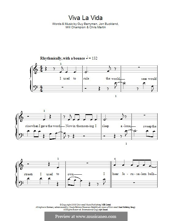 Piano version: Easy version (with fingering) by Chris Martin, Guy Berryman, Jonny Buckland, Will Champion