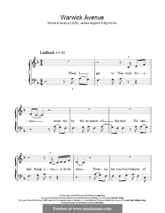 Warwick Avenue (Duffy): Facil para o piano by Jimmy Hogarth, Aimee Duffy, Eg White