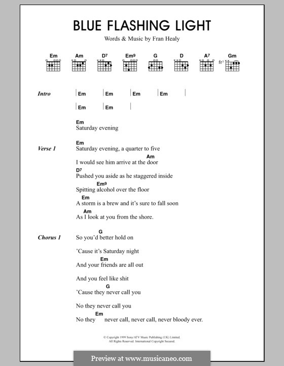 Blue Flashing Light (Travis): Letras e Acordes by Fran Healy