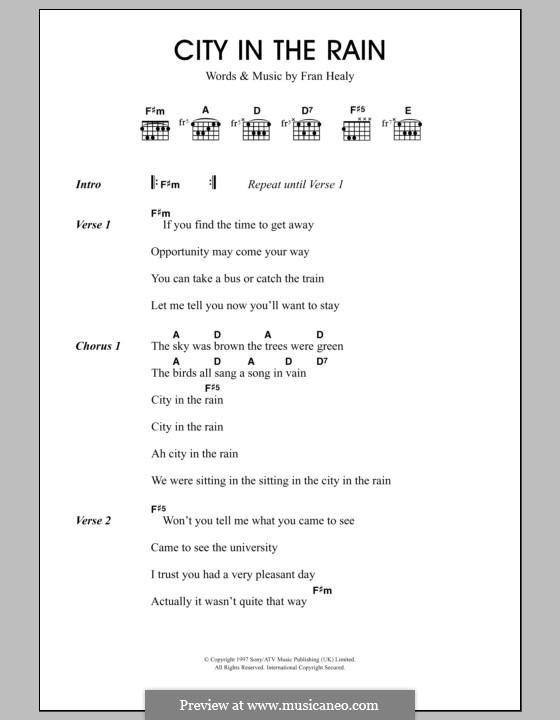 City in the Rain (Travis): Letras e Acordes by Fran Healy