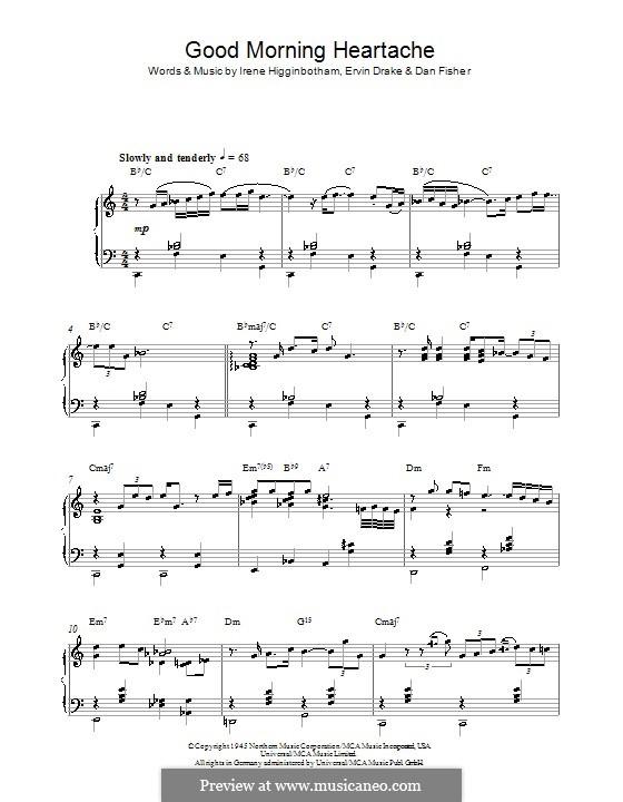 Good Morning Heartache (Billie Holiday): Para Piano by Daniel Fisher, Ervin Drake, Irene Higginbotham