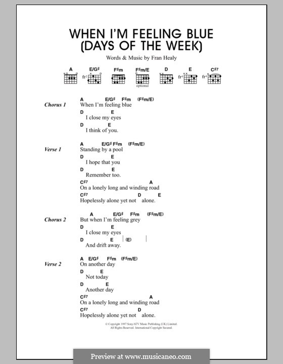 When I'm Feeling Blue (Seven Days of the Week): Lyrics and chords (Travis) by Fran Healy