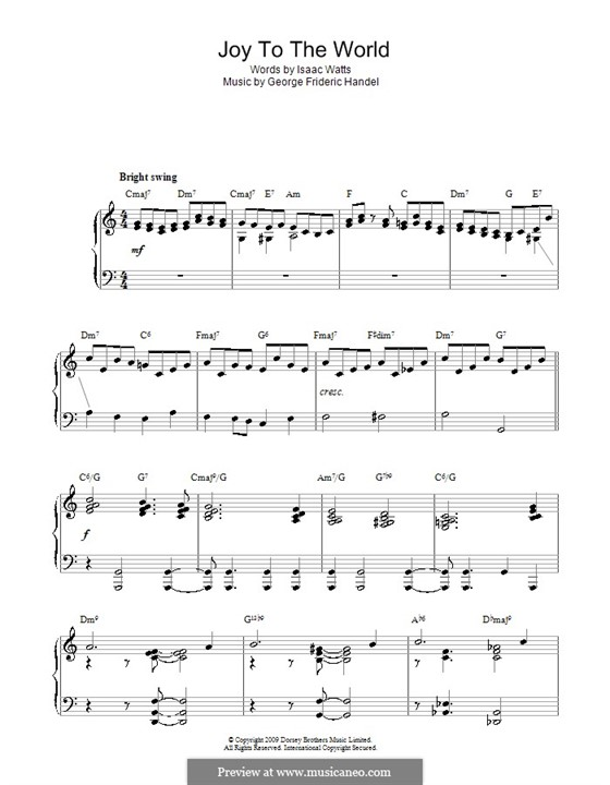 Joy to the World, for Piano: Jazz version by Georg Friedrich Händel