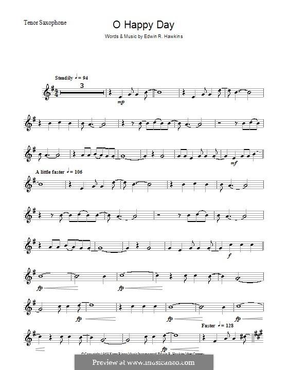 Oh Happy Day (The Edwin Hawkins Singers): para saxofone tenor by Edwin R. Hawkins