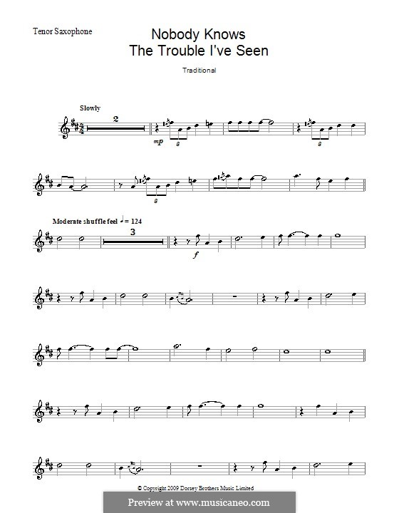 Nobody Knows the Trouble I've Seen: para saxofone tenor by folklore