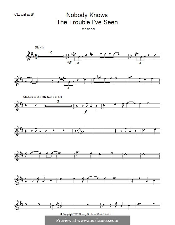 Nobody Knows the Trouble I've Seen: para clarinete by folklore