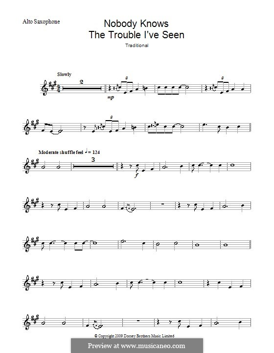 Nobody Knows the Trouble I've Seen: para Saxofone Alto by folklore