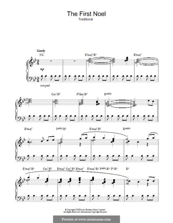 The First Nowell (The First Noël), for Piano: em B flat maior by folklore