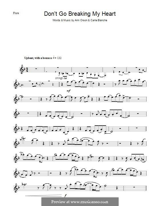 Don't Go Breaking My Heart (Elton John): para flauta by Ann Orson, Carte Blanche