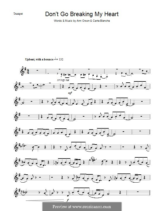 Don't Go Breaking My Heart (Elton John): para trompeta by Ann Orson, Carte Blanche