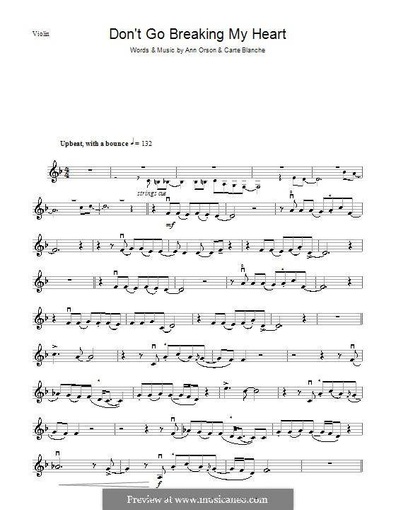 Don't Go Breaking My Heart (Elton John): para violino by Ann Orson, Carte Blanche