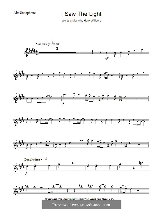 I Saw the Light: para Saxofone Alto by Hank Williams