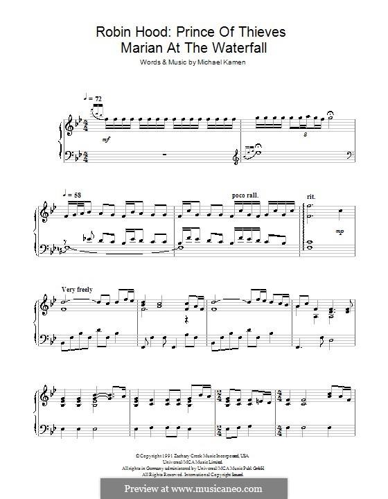 Robin Hood: Prince of Thieves (Marian at the Waterfall): Para Piano by Michael Kamen