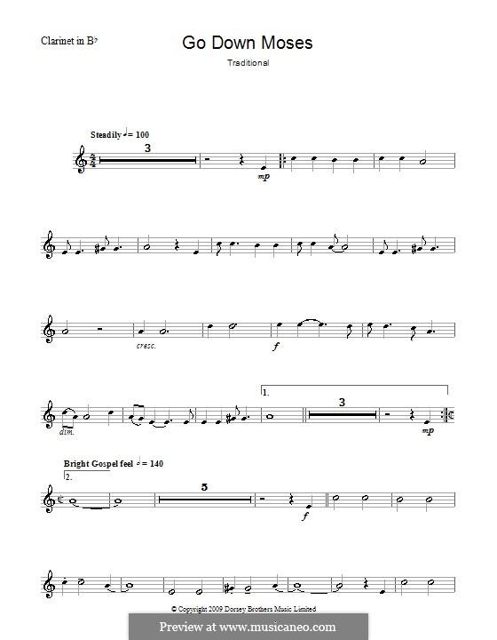Go Down Moses: Para clarinete e piano - parte solo by folklore