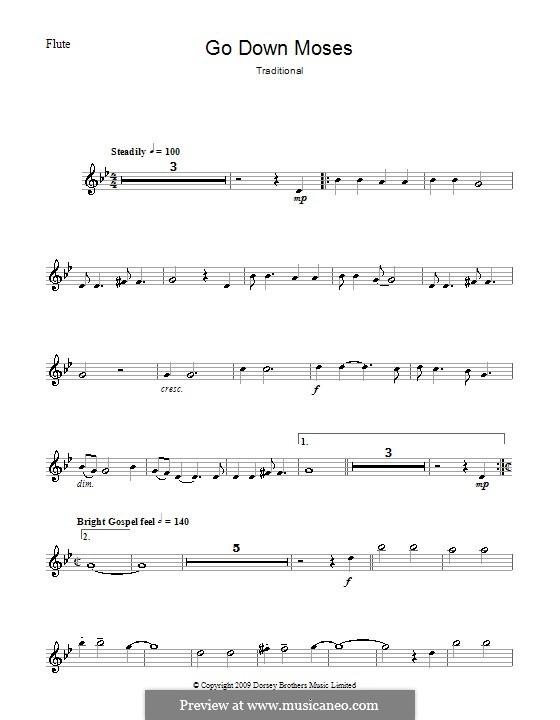 Go Down Moses: Para flauta e piano - parte solo by folklore