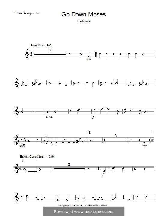 Go Down Moses: For tenor saxophone and piano – solo part by folklore