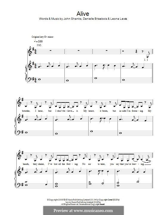 Alive: Para vocais e piano (ou Guitarra) by Danielle Brisebois, John M Shanks, Leona Lewis