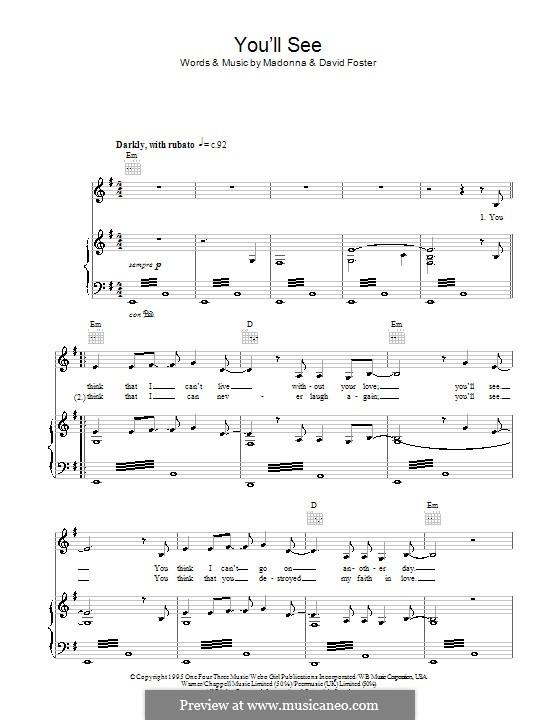 You'll See (Susan Boyle): Para vocais e piano (ou Guitarra) by Madonna, David Foster
