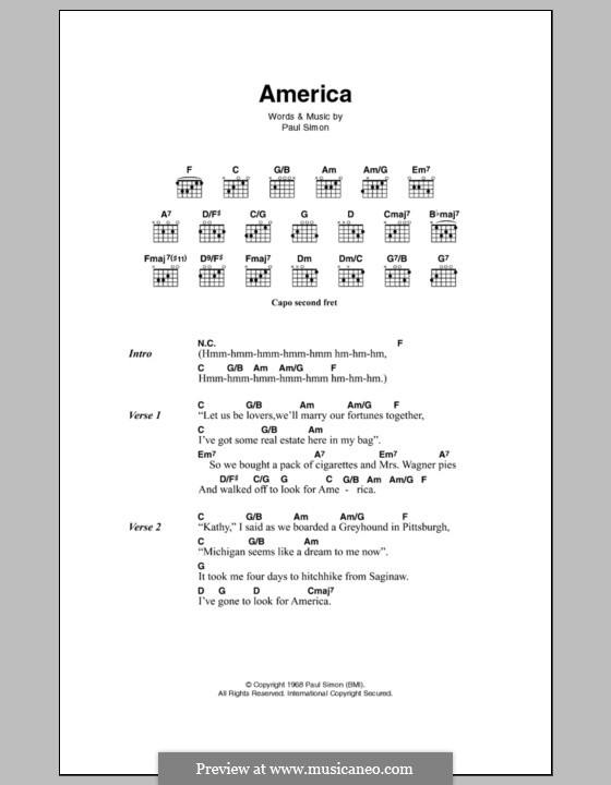 America (Simon & Garfunkel): Letras e Acordes by Paul Simon