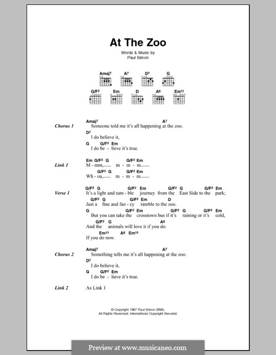 At the Zoo (Simon & Garfunkel): Letras e Acordes by Paul Simon