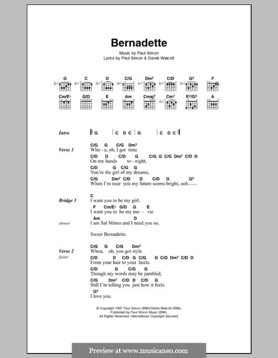 Bernadette: Letras e Acordes by Paul Simon