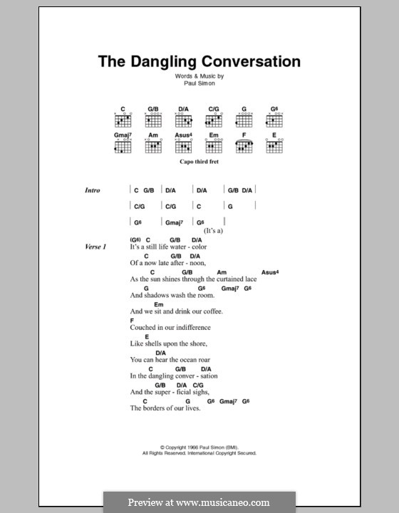 The Dangling Conversation (Simon & Garfunkel): Letras e Acordes by Paul Simon
