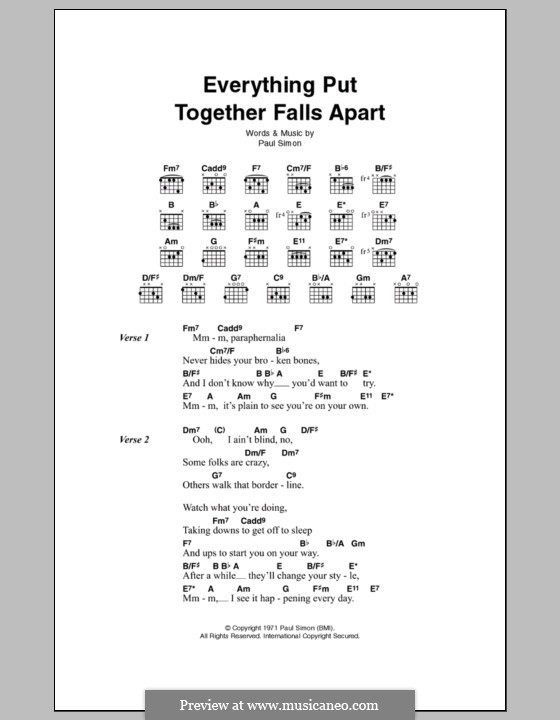 Everything Put Together Falls Apart: Letras e Acordes by Paul Simon