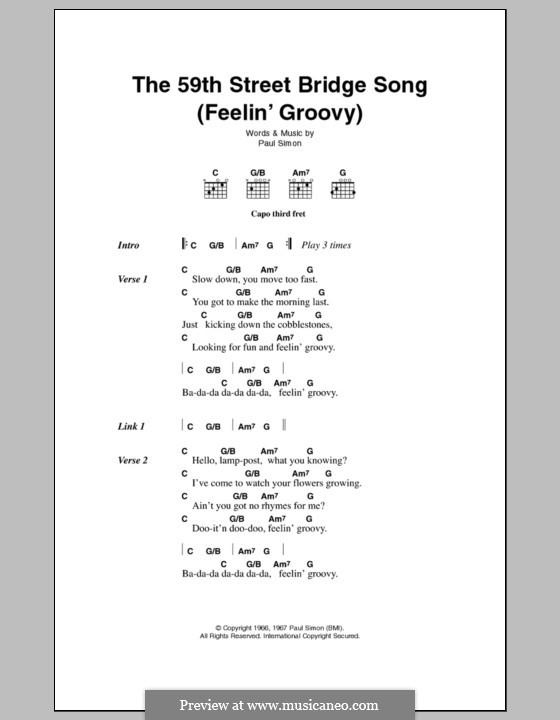 The 59th Street Bridge Song (Feelin' Groovy): Letras e Acordes by Paul Simon