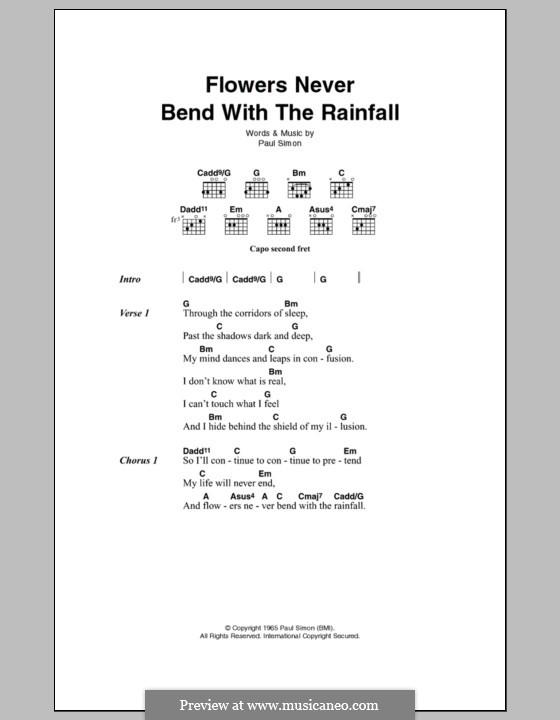 Flowers Never Bend with the Rainfall (Simon & Garfunkel): Letras e Acordes by Paul Simon