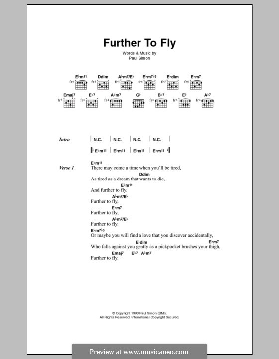 Further to Fly: Letras e Acordes by Paul Simon