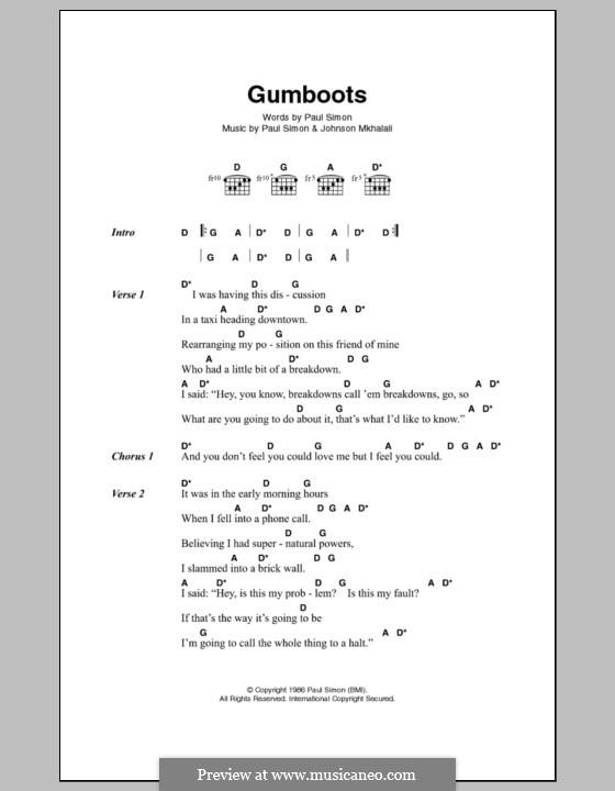 Gumboots: Letras e Acordes by Paul Simon