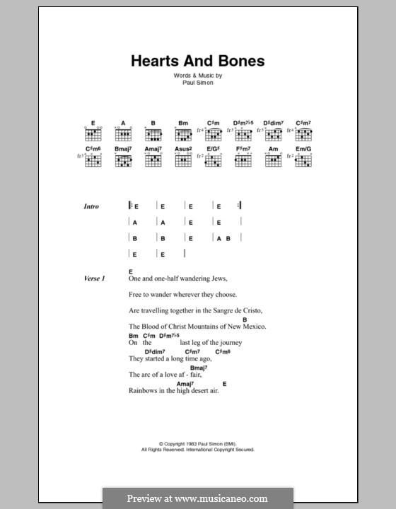 Hearts and Bones: Letras e Acordes by Paul Simon