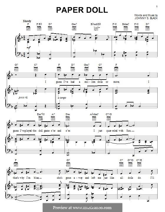 Paper Doll (The Mills Brothers): Para vocais e piano (ou Guitarra) by Johnny S. Black