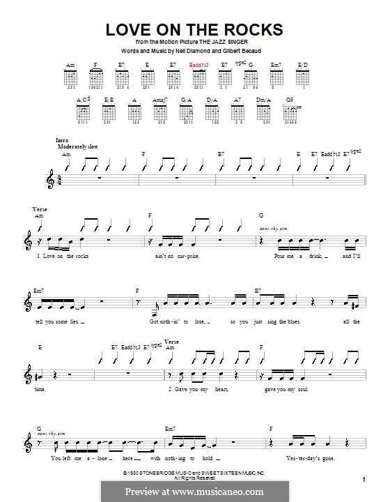 Love on the Rocks (from The Jazz Singer): para guitarras (com dedilhado) by Gilbert Becaud, Neil Diamond