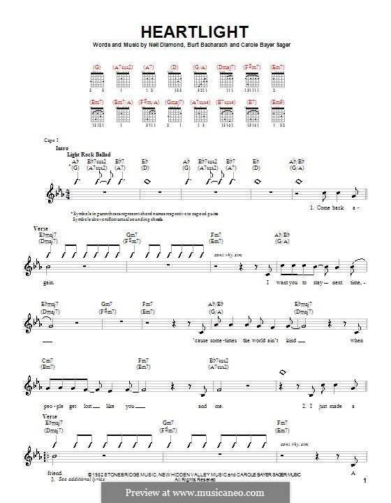Heartlight: para guitarras (com dedilhado) by Burt Bacharach, Carole Bayer Sager, Neil Diamond