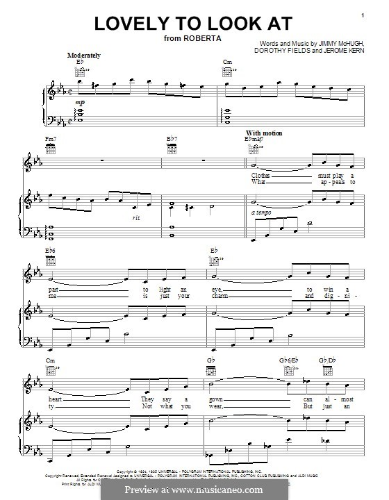 Lovely to Look at: Para vocais e piano (ou Guitarra) by Jerome Kern, Jimmy McHugh, Dorothy Fields