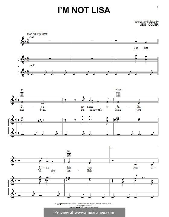 I'm Not Lisa: Para vocais e piano (ou Guitarra) by Jessi Colter