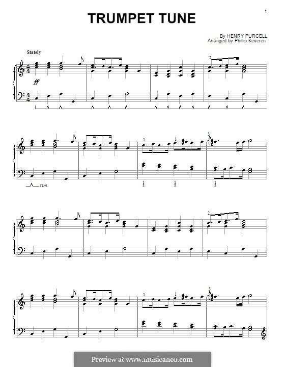 Trumpet tune and Air: para piano (G maior) by Henry Purcell