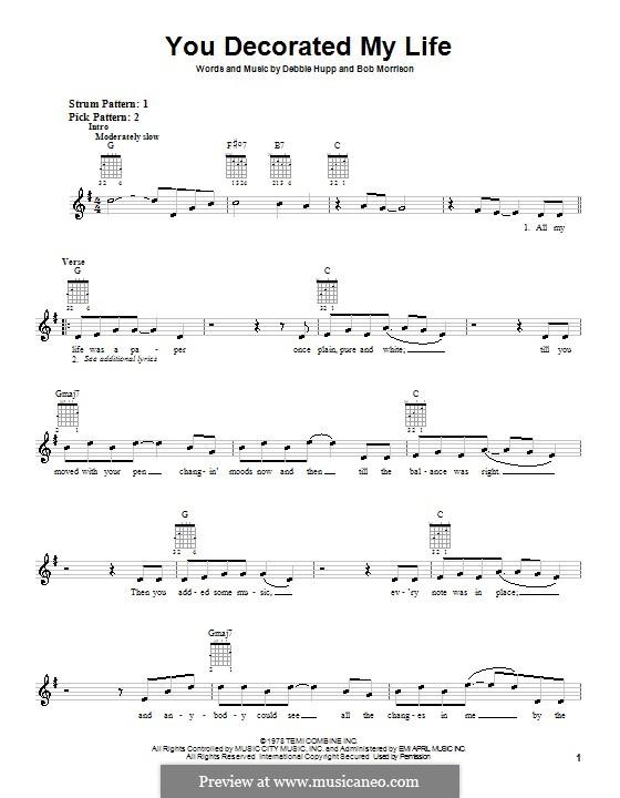 You Decorated My Life (Kenny Rogers): para guitarras (com dedilhado) by Bob Morrison, Debbie Hupp