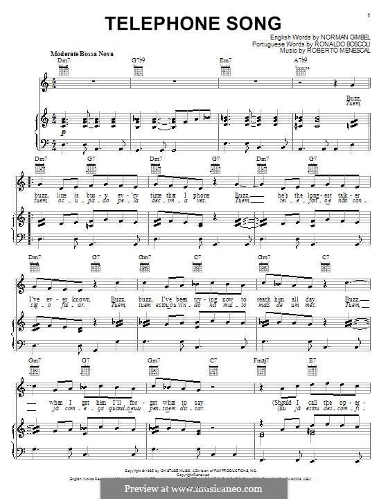 Telephone Song: Para vocais e piano (ou Guitarra) by Roberto Menescal, Ronaldo Boscoli