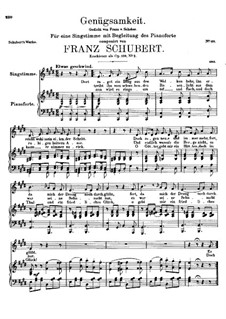 Genügsamkeit (Simple Needs), D.143 Op.109 No.2: For voice and piano (E Major) by Franz Schubert