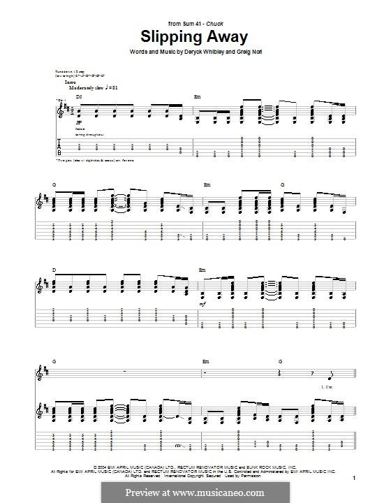 Slipping Away (Sum 41): Para guitarra com guia by Deryck Whibley, Greig Andrew Nori
