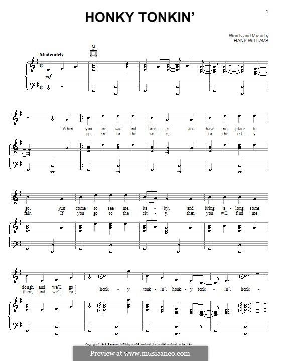 Honky Tonkin': Para vocais e piano (ou Guitarra) by Hank Williams
