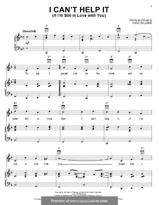 I Can't Help It (If I'm Still in Love with You): Para vocais e piano (ou Guitarra) by Hank Williams