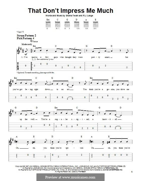 That Don't Impress Me Much: Para guitarra (versão facil) by Robert John Lange, Shania Twain