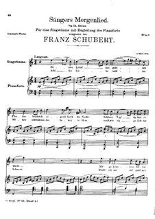 Sängers Morgenlied (The Minstrel's Morning Song), D.165: C maior by Franz Schubert