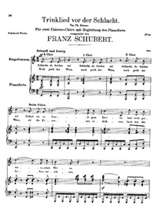 Trinklied vor der Schlacht (Drinking Song Before Battle), D.169: Trinklied vor der Schlacht (Drinking Song Before Battle) by Franz Schubert