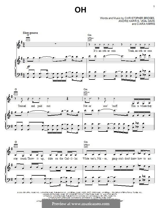 Oh (Ciara and Ludacris): Para vocais e piano (ou Guitarra) by Andre Harris, Christopher Bridges, Clifford Harris, Vidal Davis