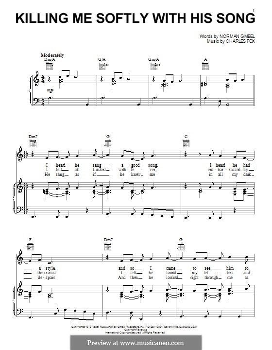 Killing Me Softly with His Song: For voice and piano or guitar (Roberta Flack) by Charles Fox